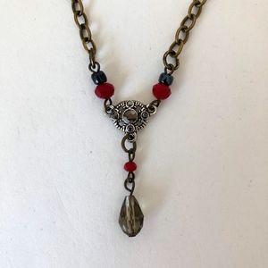 Jewelry - NWOT BoHo Choker with Crystal Beads Silver Brass